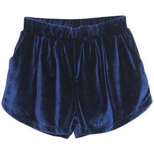 High Waist Drape Blue Velour Shorts