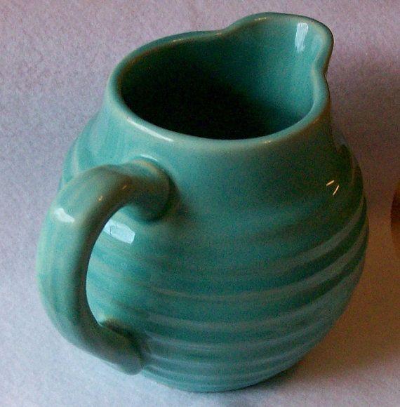 Vintage Bauer Aqua Turquoise Ringware Pitcher California