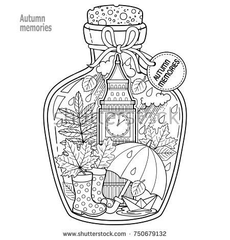 Coloring book for adults. A glass vessel with autumn memories of dreams about a trip to London. A bottle with rain, boots, leaves, a cup of tea, big ben tower london, Victoria Tower,