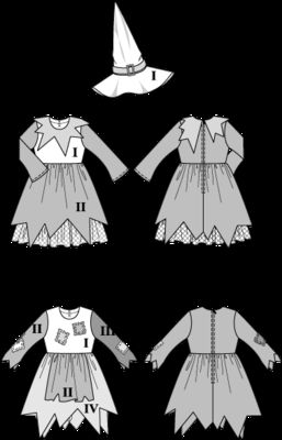 burda style, Schnittmuster für Halloween - Zauberhaftes Kostüm für kleine Hexen