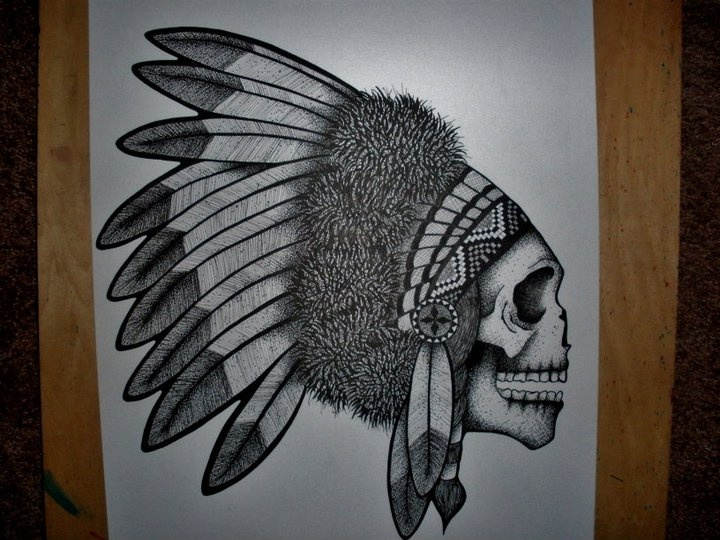 indian chief skull ink drawing by me (kristi richards, woundedknee84 on etsy)