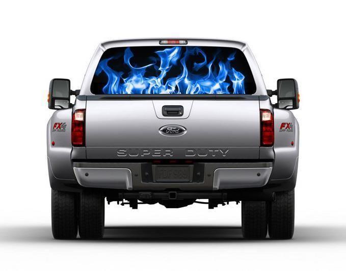 Blue Fire Flames Car Rear Window Decal See-Through Sticker Car Truck SUV Van 143