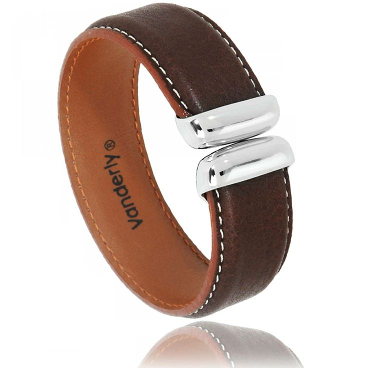Men leather Napa red-brown bracelets - Vanderly