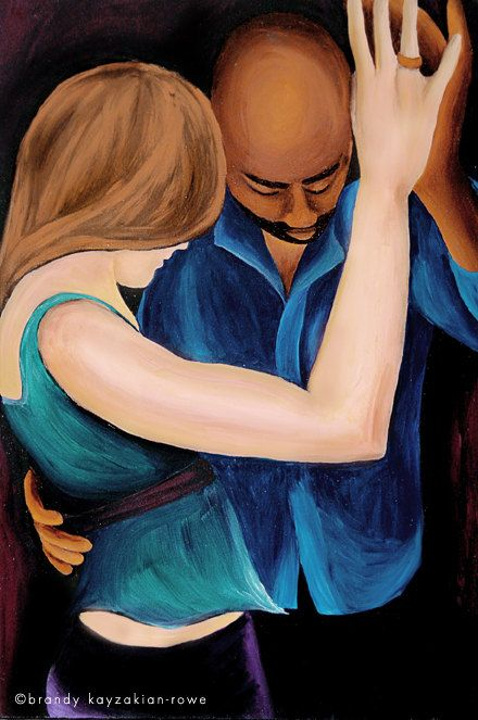 Interracial Couple Slow Dance Art Print - portrait painting, mixed race love.
