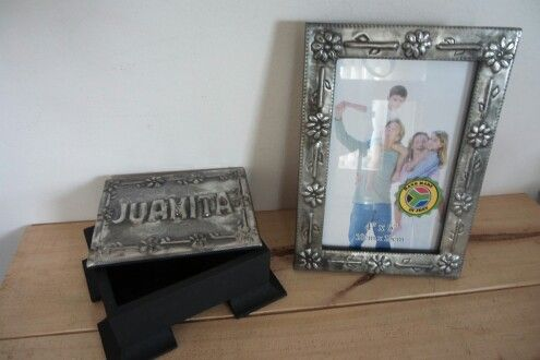 Picture frame and Jewel box with pewter art