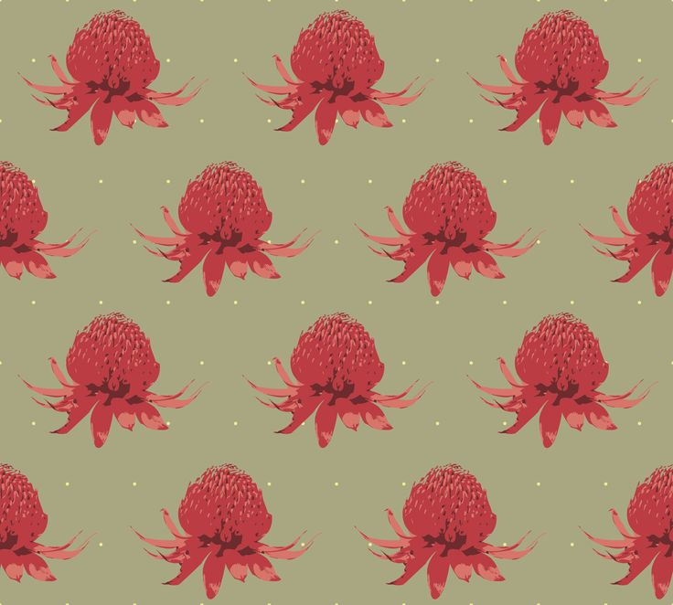 Lily Fink Day's Splendour Collection - Waratah Red. Wallpaper or Fabric.