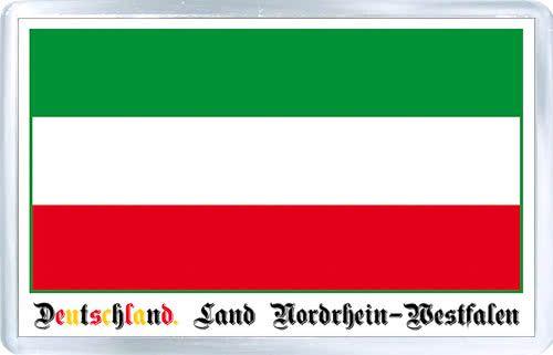 Acrylic Fridge Magnet: Germany. Flag of North Rhine-Westphalia (Land Nordrhein-Westfalen)