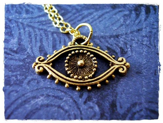 Gold Evil Eye Necklace - Antique Gold Pewter Evil Eye Charm on a Delicate 18 Inch Gold Plated Cable Chain by EvelynMaeCreations on Etsy