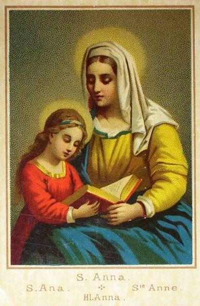 19th century lithograph of Mary and her mother St. Anne