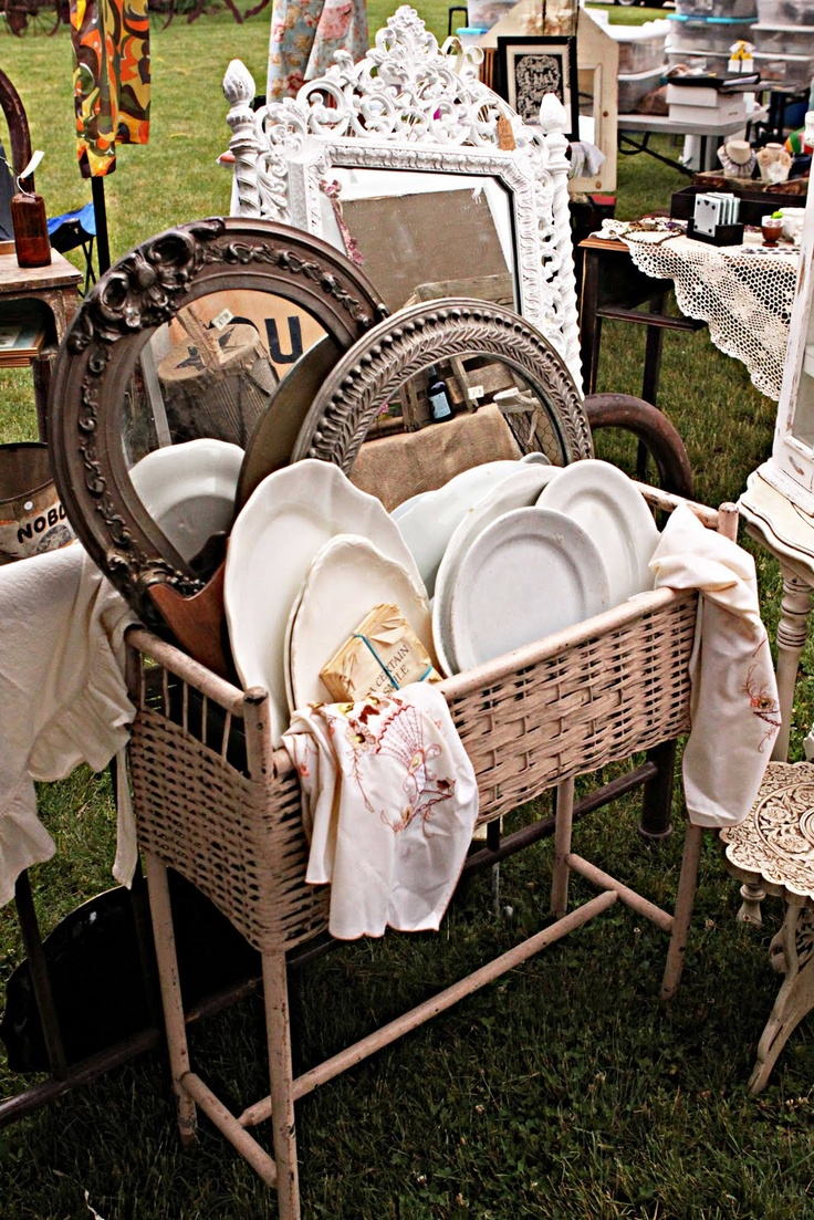 bits of the flea market through french larkspur's lense- great display idea for mirrors and misc. china