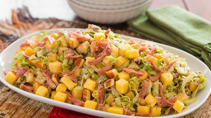 Salada de Polenta com Presunto Parma e Ricota - Yoki