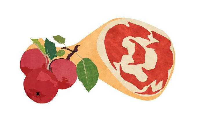 An illustration of ham and apples