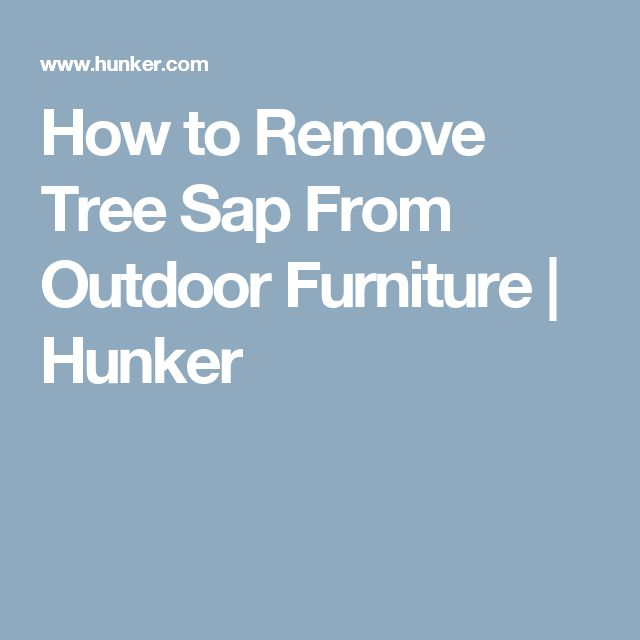 How to Remove Tree Sap From Outdoor Furniture | Hunker