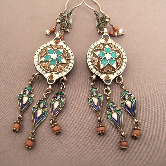 Earrings ~ Uzbekistan   Silver, enamel and coral