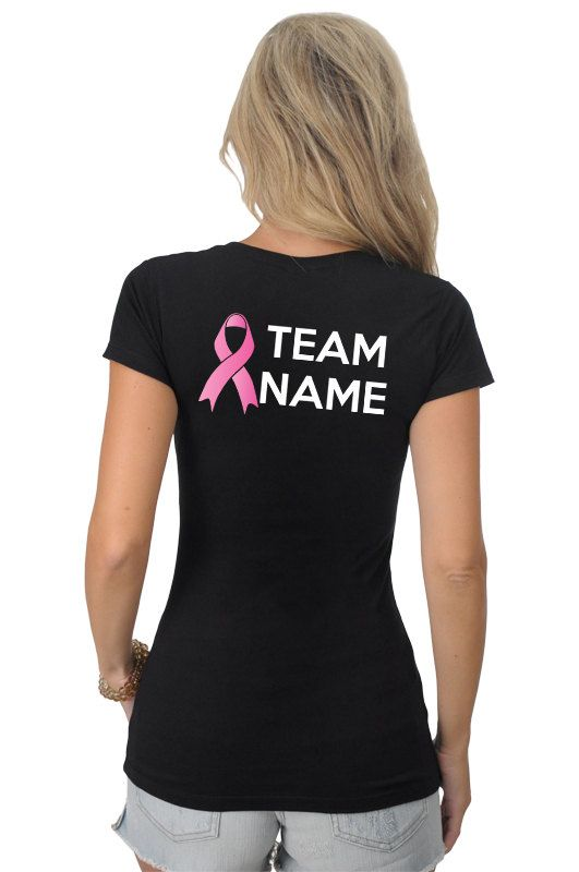 Pink Ribbon Breast Cancer or Any Color Awareness Survivor Personalized Customizable TEAM NAME Black T-Shirt S-2XL