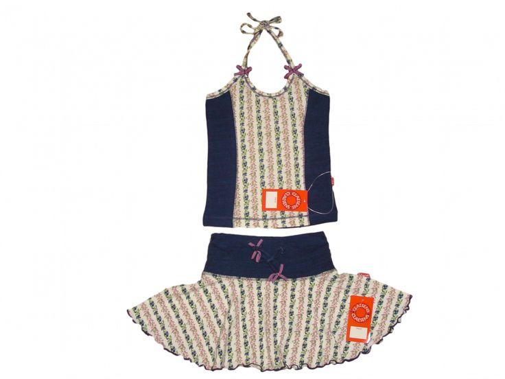 Maat 92/98 Set rok en top Donkerblauw met wit/roze/blauw bloemetjes NIEUW!!  Merk Claesen's