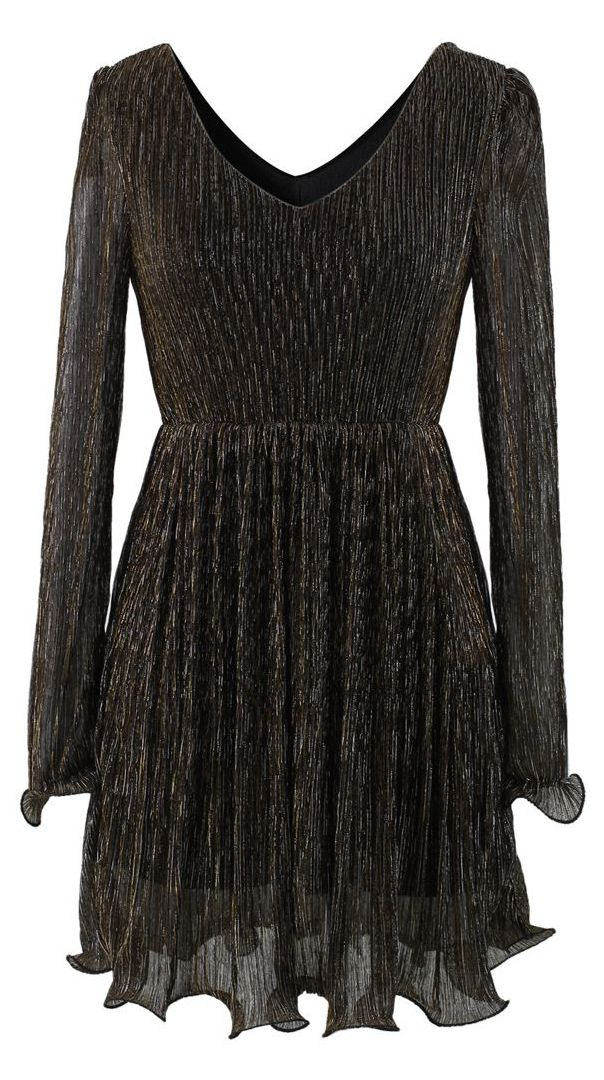 Metalic Fluted Dress in Brown