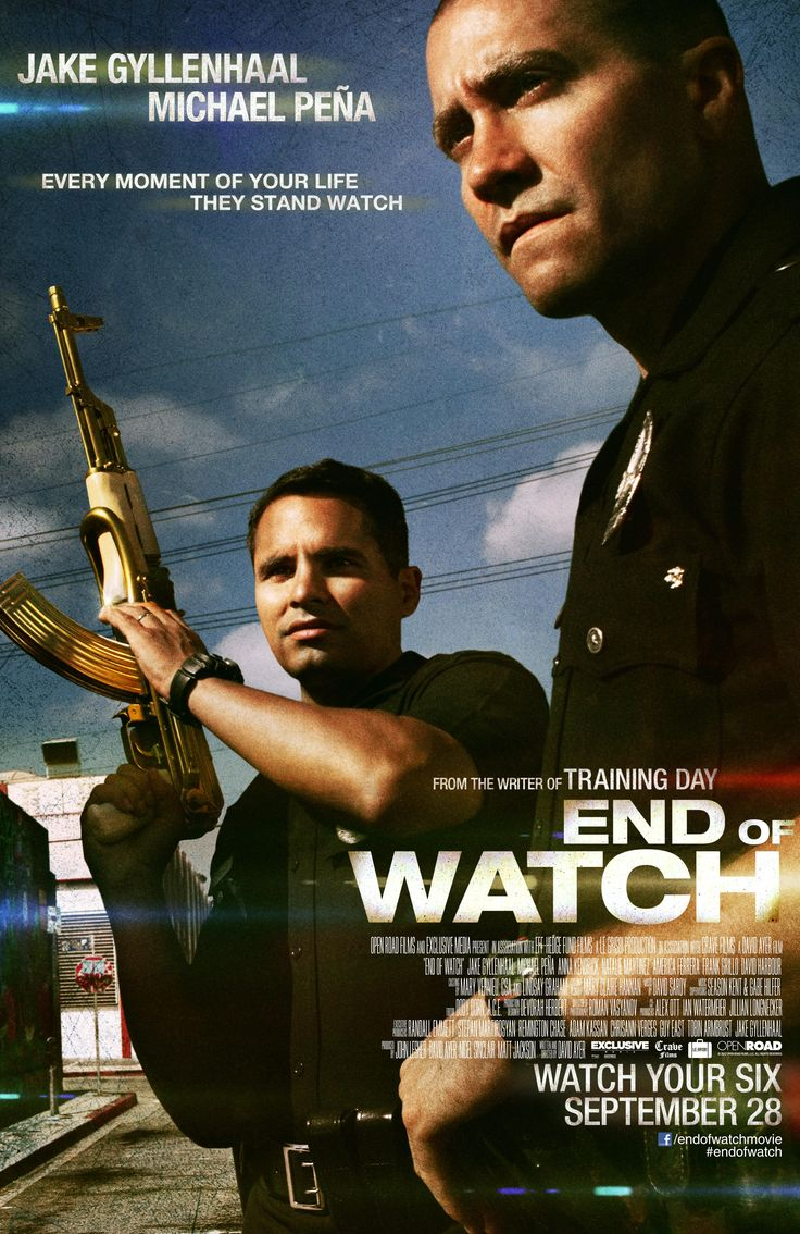 "End of Watch  (2012):  Jake Gyllenhaal, Michael Pena.  ""I am a consequence. I am the unpaid bill. I am fate with a badge and a gun. Behind my badge is a heart like yours. I bleed, I think, I love, and, yes, I can be killed. And although I am but one man, I have thousands of brothers and sisters who are the same as me. They will lay down their lives for me, and I them. We stand watch together. The thin blue line, protecting the prey from the predators, the good from the bad. We are the…"