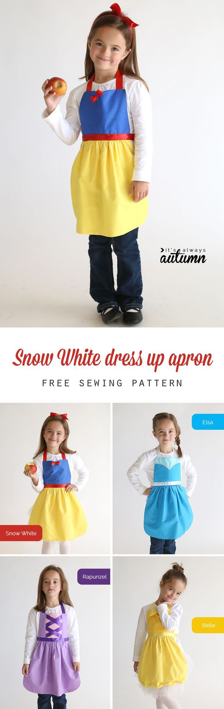 So adorable! Get the free PDF sewing pattern for this easy to make Snow White princess dress up apron in sizes 2-8 to fit any little girl! Easy DIY Snow White costume or dress up. Great handmade Christmas gift idea. More princess dress up apron patterns on this site too!