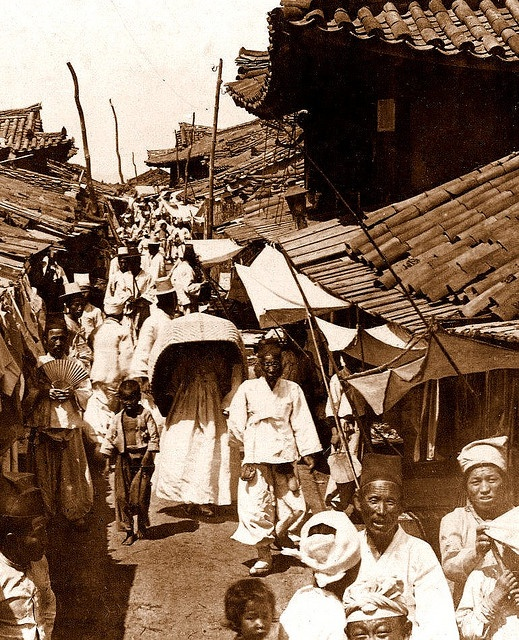 A Crowed Scene on a Side Street, PYONGYANG by Okinawa Soba, via Flickr. 1904 image by Australian photographer GEORGE ROSE