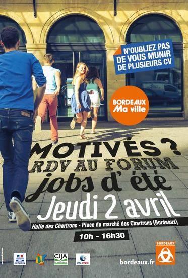 FORUM JOBS D'ÉTÉ - BORDEAUX : La mairie de Bordeaux co-organise avec le Cija et Pôle emploi un forum jobs d'été en faveur des jeunes.