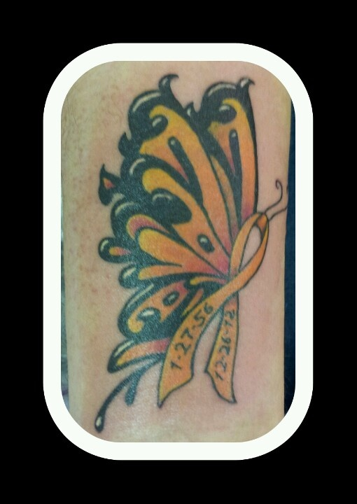 My Multiple Sclerosis awareness ribbon/butterfly. It's in honor of my mother who fought valiantly, but lost her battle with M.S. ...I miss you so much Mom.