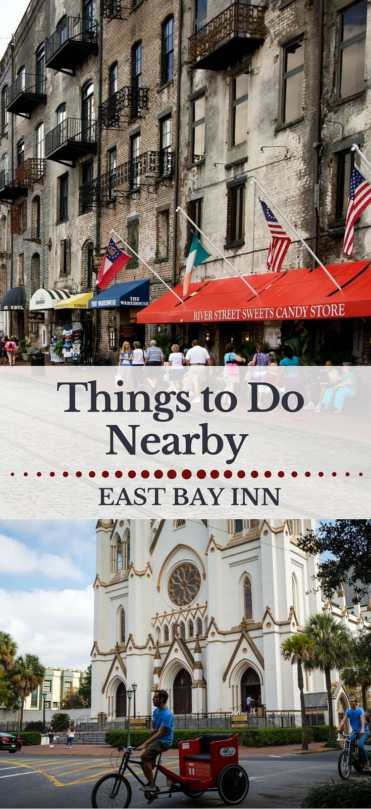East Bay Inn is just across the street from Savannah's famous River Street.  It's situated perfectly for lots of fun.  Check out our summary here of what our guests enjoy most. http://www.eastbayinn.com/area-guide.htm