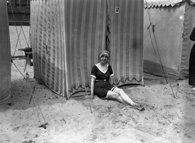 What We Wore 100 Years Ago: Fashion in 1914: Woman in Bathing Suit at Gorleston Beach, England
