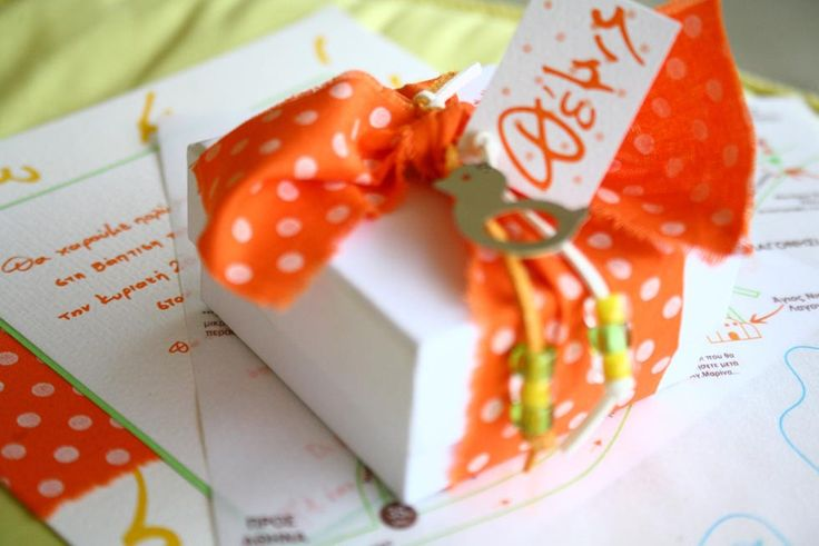 Joyful orange polka dots, hand lettered baptism invitation, map and matching favor