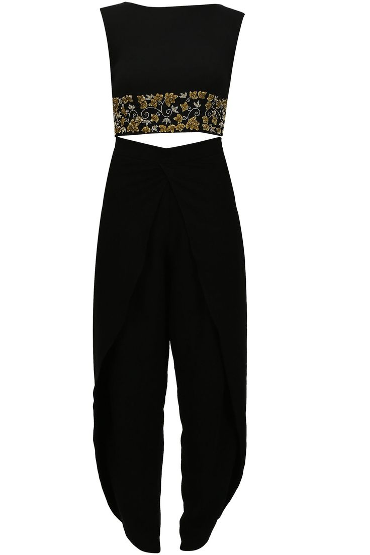 Black floral embroidered crop top and dhoti pants set available only at Pernia's Pop Up Shop.