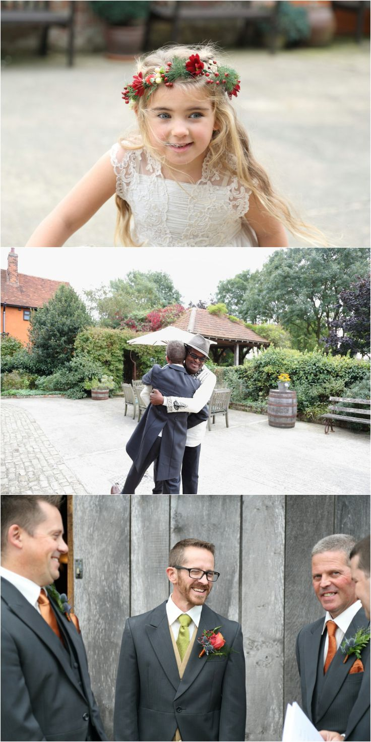 flower crown and copper details at Moreves barn, Suffolk.  fun wedding photography, relaxed and unobtrusive photography of groom arriving at venue.