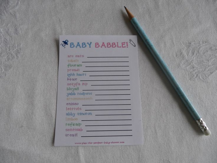 Baby Babble game free printable for baby shower