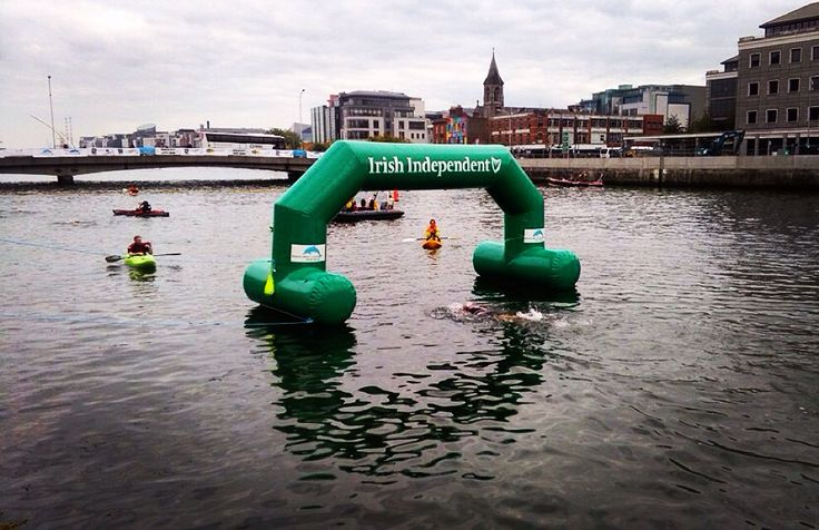 My big moment. Coming through the finish arch at the #LiffeySwim