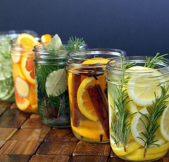 Five Natural Room Scent Recipes (DIY): 1) Oranges, cinnamon & cloves (allspice and anise are optional). 2) Lemon, rosemary, & vanilla 3) Lime, thyme, mint & vanilla extract 4) Orange, ginger (fresh or powdered), and almond extract 5) Pine or cedar twigs (or other fragrant twigs), bay leaves, and nutmeg.