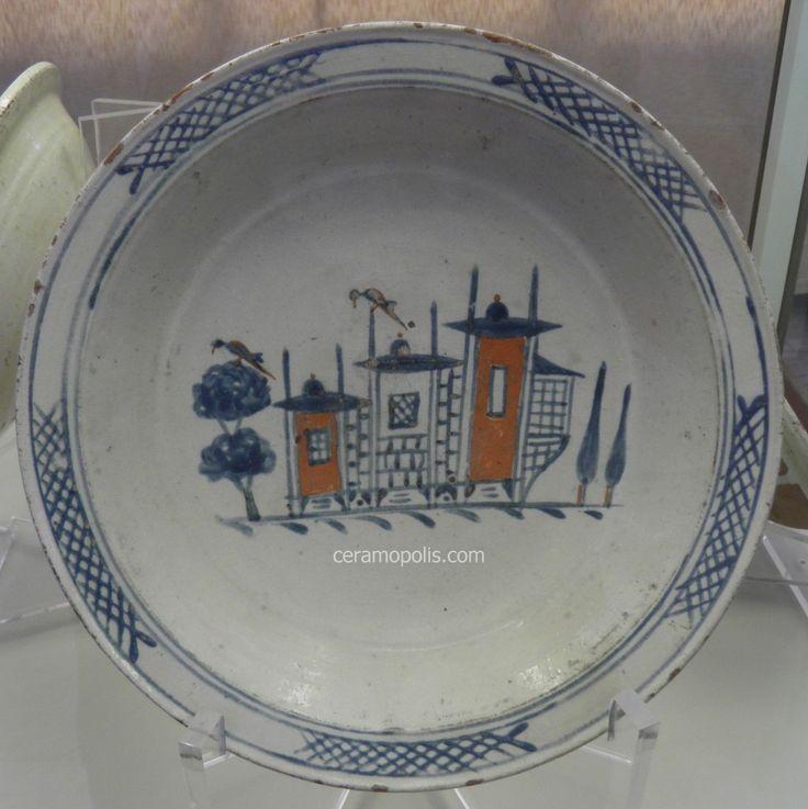 Canakkale Plate 19th Rare Houses Motif