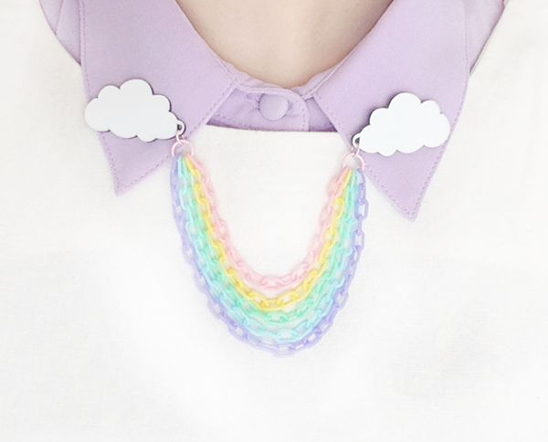 whimsical fuckery is my middle name! rainbow cloud collar pins - kategabrielle