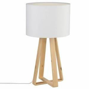 lampe pied en bois h 475 cm blanc - Lampe Sur Pied Fleur