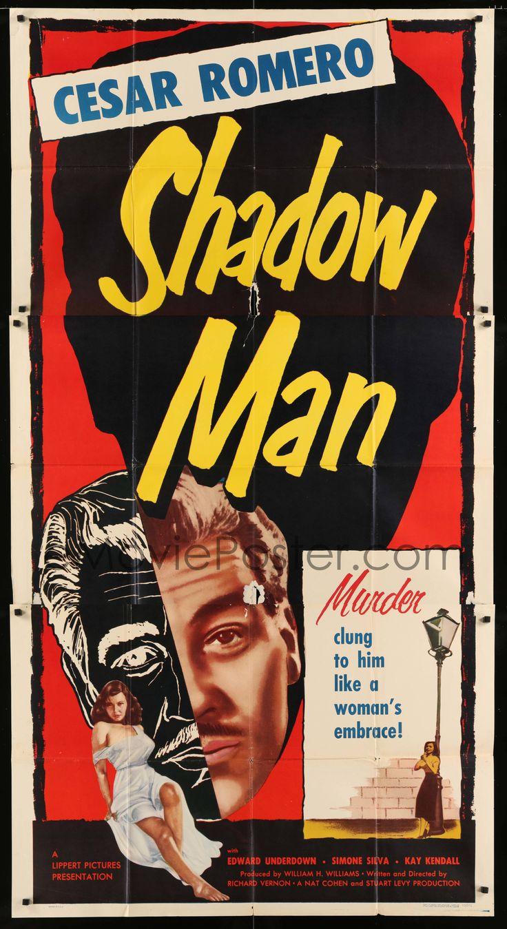 eMoviePoster.com Image For: 7t938 STREET OF SHADOWS 3sh 1953 art of Shadow Man Cesar Romero + sexy bad girl Simone Silva!