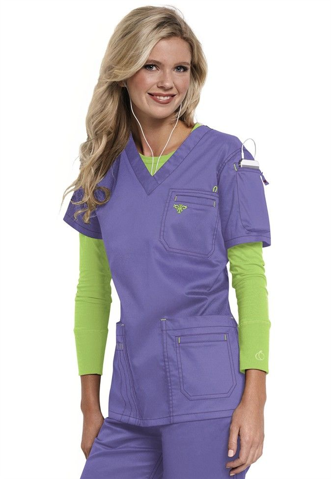 Med Couture media v-neck scrub top. Main Image
