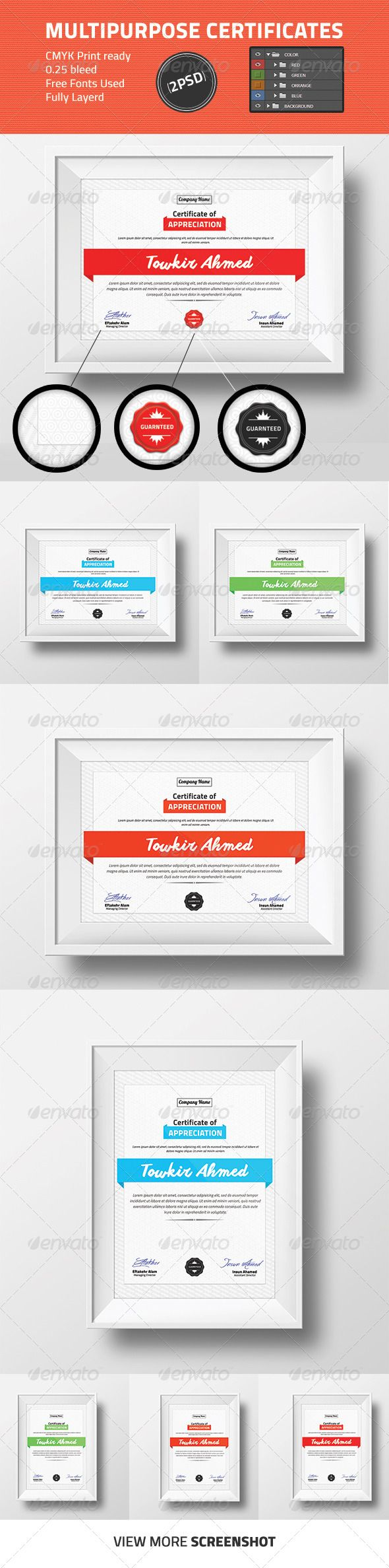 Check out this awesome professional Multipurpose Certificate Design. Download This: http://graphicriver.net/item/multipurpose-certificate-design/8713503