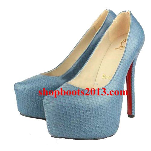 Discount Christian Louboutin Daffodile 160mm Platform Python Pumps Blue