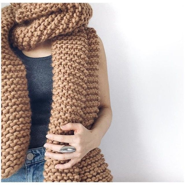 knitting scarf in beige