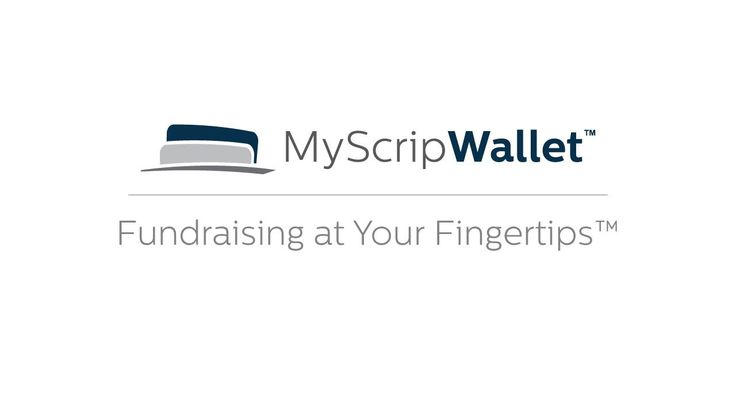 MyScripWallet is a mobile fundraising solution that lets you buy electronic gift cards and reload gift cards on the fly