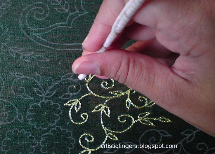 Aari embroidery is one of the popular embroidery styles in India. Silk threads and zari are used. It's done using a big slate frame (kind of) and the hook used is handmade.