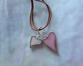 Two Hearts Together Creamy White and Light Pink Iridescent Stained Glass Necklace
