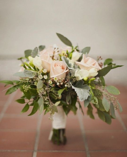 Pale pink and green bouquet, love the accent with seeded eucalyptus!