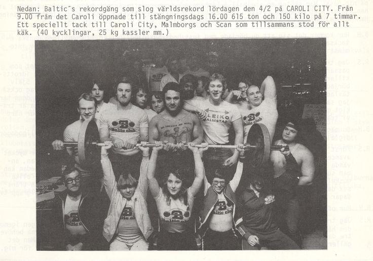1978 Social verksamhet Baltic Club Malmö.Maratonbänkpress Caroli City Malmö