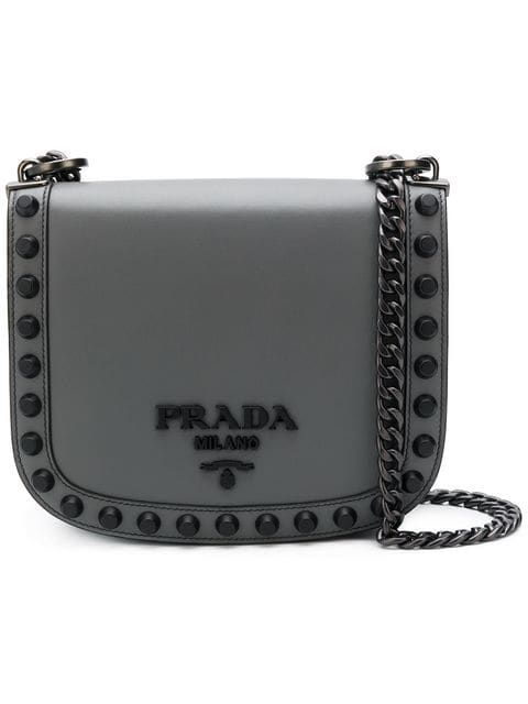 1e3782874ac8b4 PRADA | Logo Plaque Stud Crossbody | £1,936 | Since its founding in 1913,  Milanese fashion house Prada has been rooted in the uncompromising pursuit  of ...
