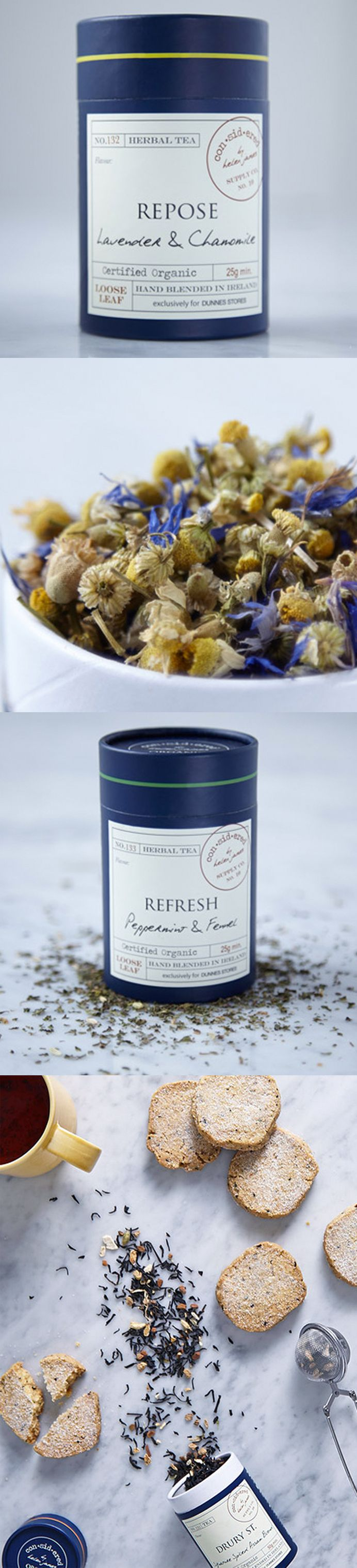 Considered by Helen James Loose Leaf Tea exclusively for Dunnes Stores Tea packaging