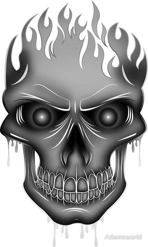 Flame skull silver t shirt by adam santana